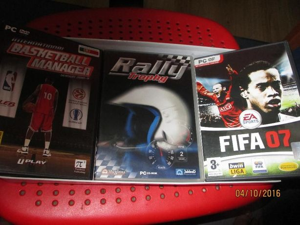 3 jogos p/PC - FIFA 07-Basketball Manager-Rally Trophy