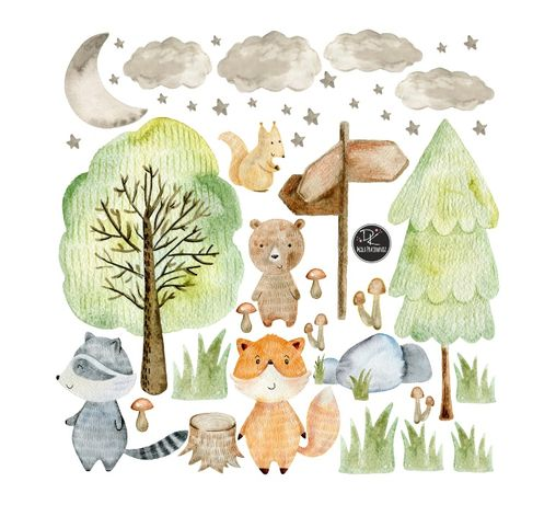 Leśne zwierzęta,WOODLAND,akwarela