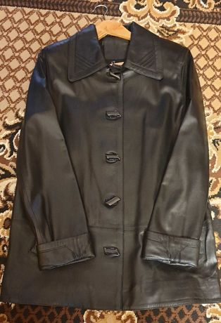 Кожаная куртка плащь весна осень демисезонная 50 размер