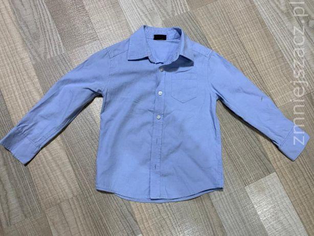 Niebieska koszula H&M dł rękaw 3-4 lat