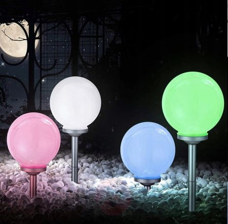 LAMPA SOLARNA ogrodowa kula led multikolor