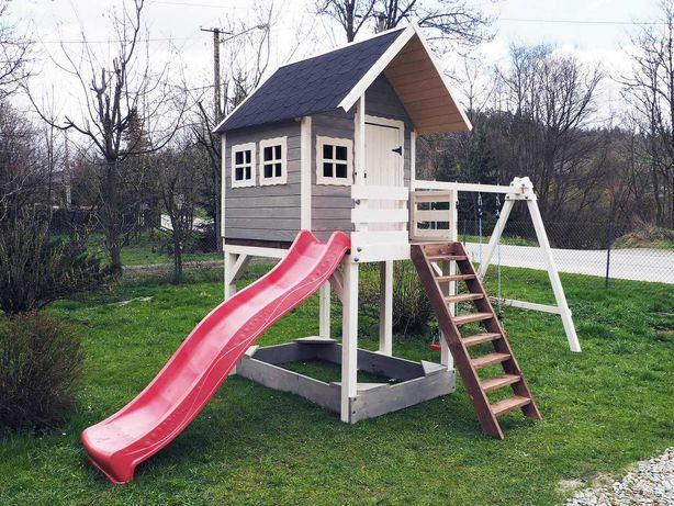 Drewniany Domek Dla Dzieci z Placem zabaw Huśtawkami Ślizgiem