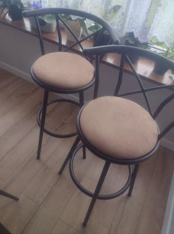 Krzesła barowe brązowe vintage 2 SZT cena za 2 krzesła