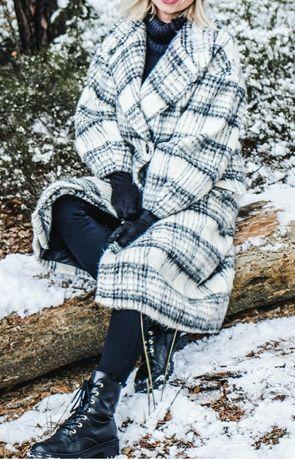 Zara blogerski płaszcz kremowy biały w kratę bufiaste rękawy XL