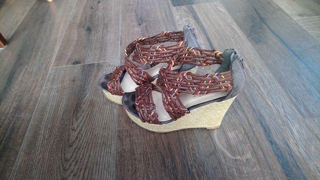 Buty sandały koturna ccc 38