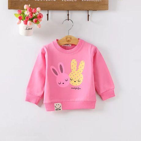 Różowa bluzka bluza króliczki 2latka