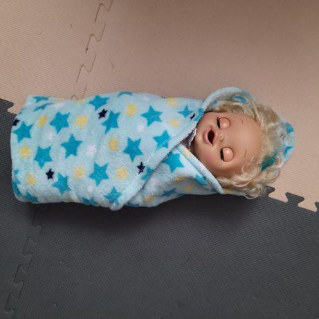 kocyk niebieski w gwiazdki polarowy
