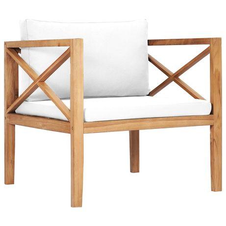 vidaXL Cadeira de jardim c/ almofadões creme madeira teca maciça 316098