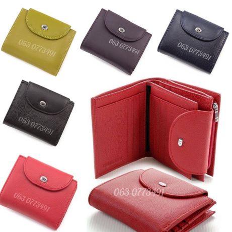 Маленький женский кожаный кошелёк клатч на кнопке ST Leather