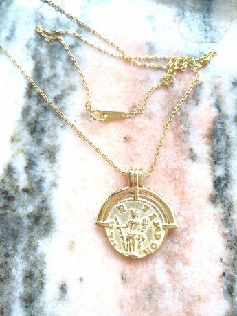 Lancuszek srebrny 925 45 cm pozlacany zloto zawieszka medalik jezus