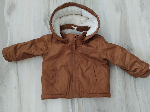 Kurtka zimowa ocieplana H&M 74 brązowa khaki jak NOWA!