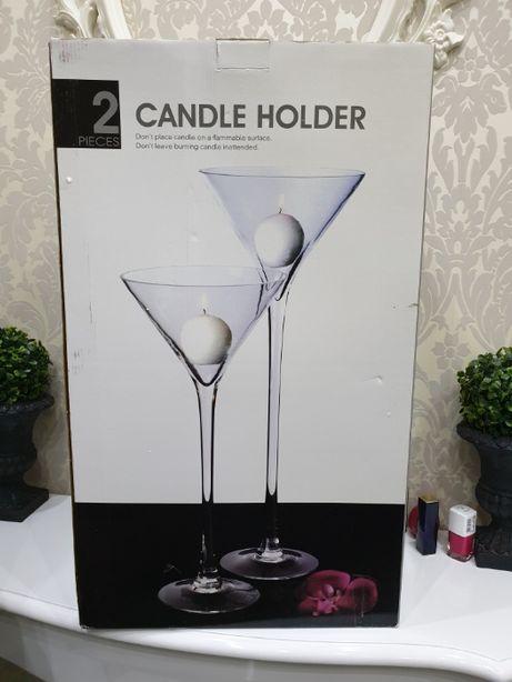Szklany świecznik, podstawa, duży kielich - nowy, darmowa dostawa.