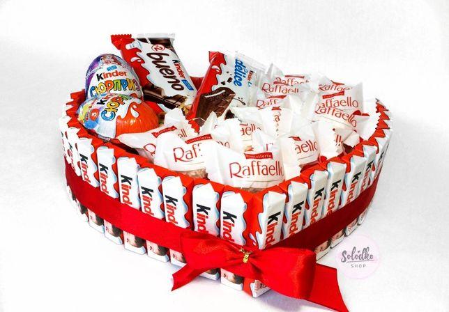 Подарки из конфет, букет из конфет, торт из киндеров, подарок девушке