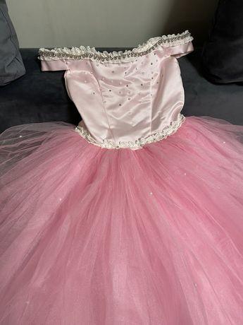 Платье розовое 128-134