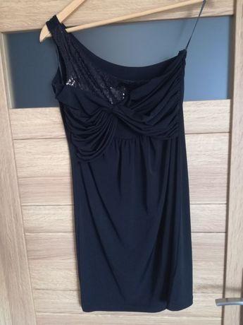 Sukienka SABRA czarna cekiny na jedno ramię r. 38M NOWA