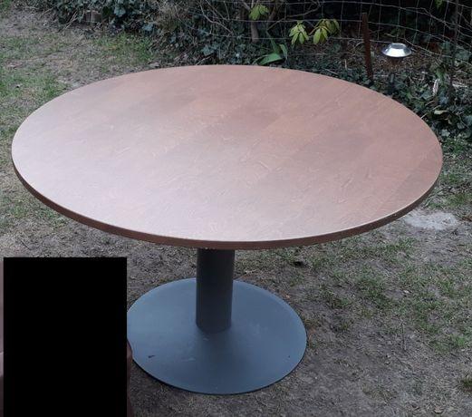Stół stolik Kinnarps do biura poczekalni okrągły brązowy