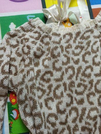 Sweterek w panterkę ciepły VUBU 36 38 S M akrylowy akryl sweter zimę