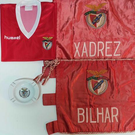 Benfica Camisola Hummel , Bandeiras anos 50 Raro e Cinzeiro Antigo SLB
