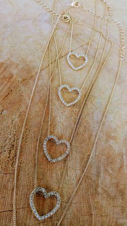 Nowy łańcuszek wisiorek z sercem w cyrkoniach kolor złoty