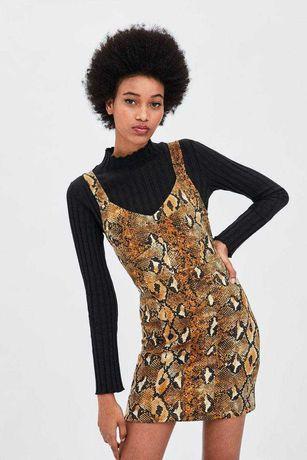 Платье короткое сарафан змеиный принт ZARA