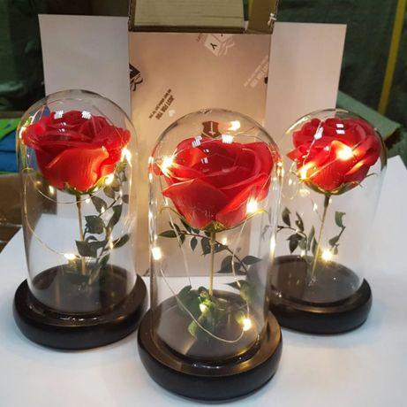 Вечная роза в колбе с подсветкой. Лучший подарок!