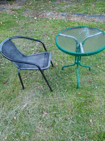 Stolik ogrodowy z krzesłem