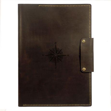 Кожаная папка для морских документов (Компас) А4 - Подарок моряку