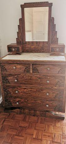 Cómoda em madeira Vintage com Espelho - Recuperada e com pedra marmore