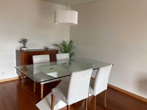Conjunto refeição mesa vidro e 4 cadeiras