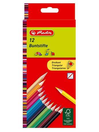 Немецкие цветные карандаши Herlitz трехгранные 12 цветов