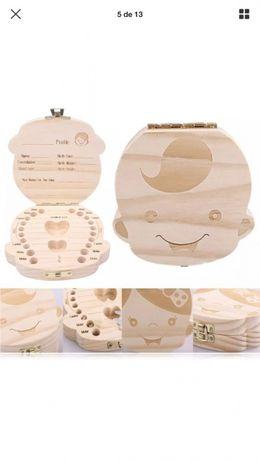 Caixa de madeira para dentes de leite