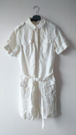 100% len kremowa Sukienka z paskiem kieszenie lniana ecru prosta guzik