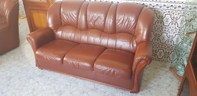 Sofa Cama + Poltrona em Pele