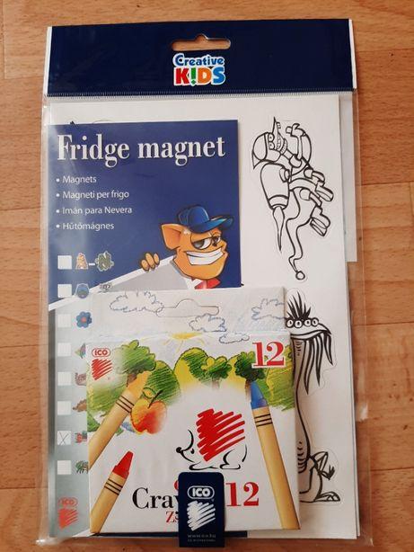 Набор магнитов на холодильник + восковые карандаши