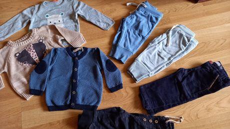 Paka zestaw firmowych ubrań 62 68 swetry spodnie