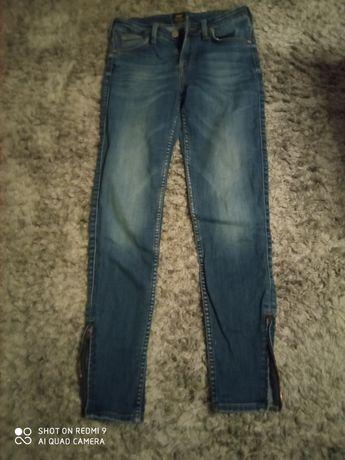 Spodnie jeansy Lee Scarlett cropped 27/33 z zamkami