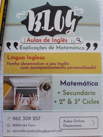 Explicações de Matemática, MACS e Inglês