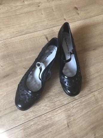Czarne buty, pantofelki skórzane TOMARIS 39 JAK NOWE