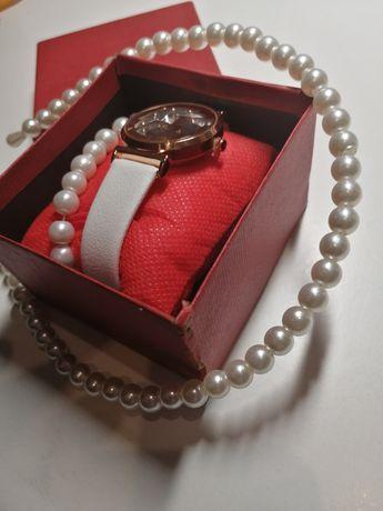 Zegarek damski plus bransoletka i opaska perełki