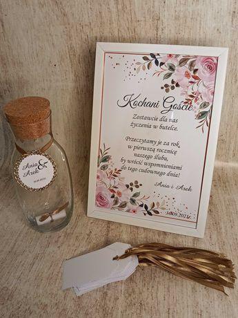 Księga gości wesele list w butelce