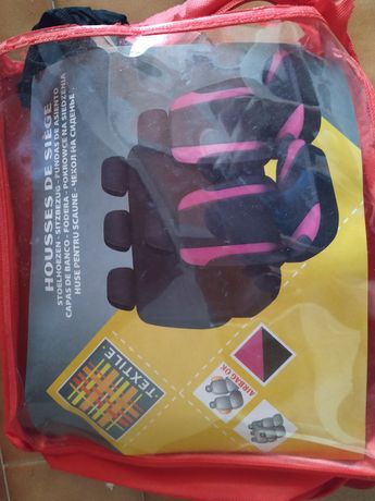 Capas para carro 5 lugares preto/rosa