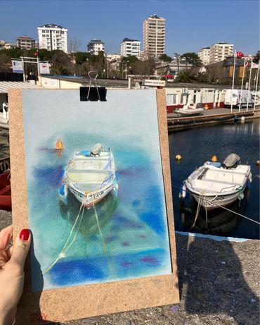 Картина пастелью «Стамбульская лодка»