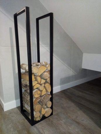 Stojak na drewno, loft, kominek, industrialny