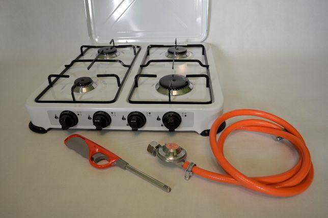Kuchenka gazowa 4 palnikowa + wąż 2m i reduktor gazowy