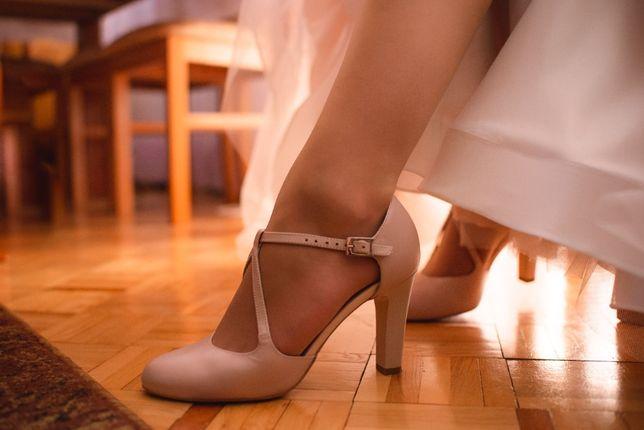 Buty ślubne Kotyl 5923 pudrowy róż roz. 36, obcas 9 cm