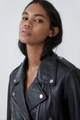 Куртка кожаная Zara, кожаная косуха, размер L, б.у.