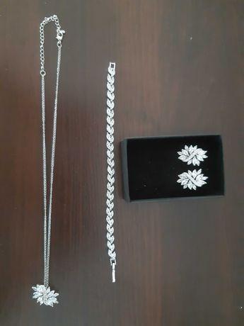 Biżuteria na ślub, kolczyki, bransoletka, wisiorek
