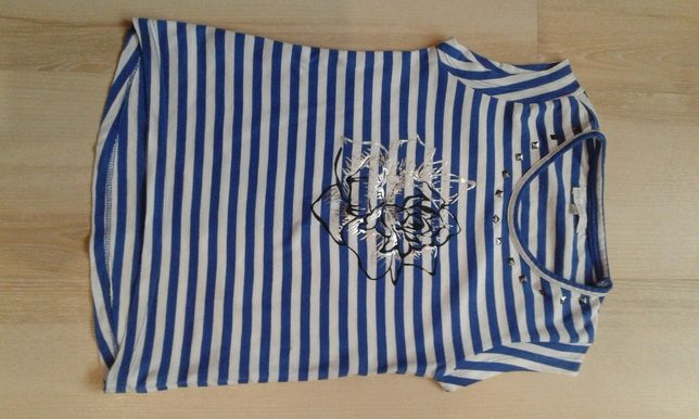 Śliczna bluzka t-shirt paski ćwieki 128