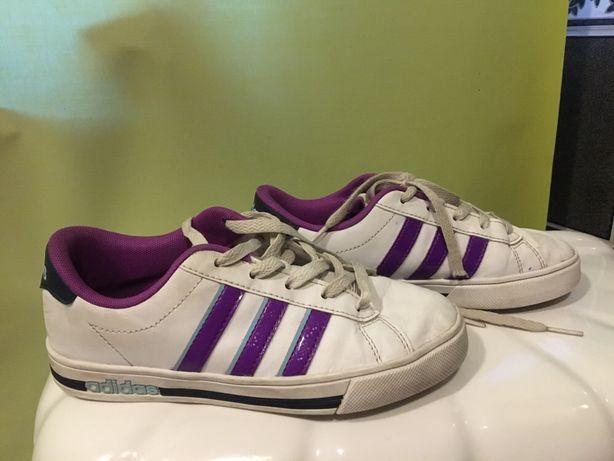 Adidasy białe z fioletem