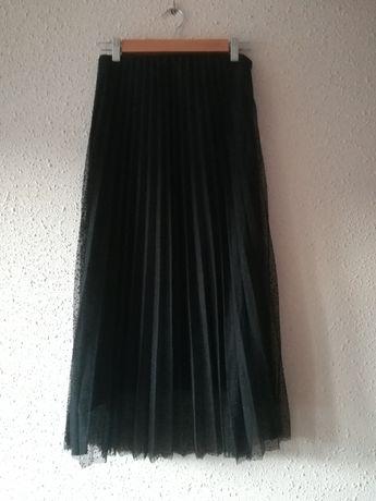 ZARA, czarna, plisowana spódnica, tiul, plumeti wysoki stan r. XS